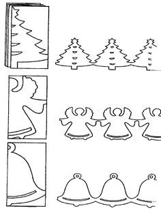 Cut a Fancy Cute Garland for Christmas with these Tree, Angel or Bell to De. Cut a Fancy Cute Garland for Christmas with these Tree, Angel or Bell to Decorate your Home/Hallway/window/classroom. Christmas Templates, Diy Christmas Cards, Christmas Paper, Christmas Crafts For Kids, Christmas Printables, Christmas Projects, Holiday Crafts, Christmas Holidays, Christmas Decorations