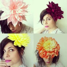 unless they're paper: Crepe Paper Flower Headpiece diy (Diy Paper Hat) Large Paper Flowers, Giant Flowers, Crepe Paper Flowers, Fall Flowers, Diy Flowers, Fabric Flowers, Pretty Flowers, Flower Diy, Dahlia Flowers