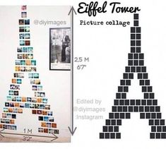 15 Photo Wall Ideas That Make Creative Photo Displays : eiffel tower picture collage project Diy Room Decor For Teens, Diy Home Decor, Tour Eiffel, Eiffel Tower Pictures, Wall Collage Decor, Wall Art, Collage Ideas, Collage Pictures, Wall Murals
