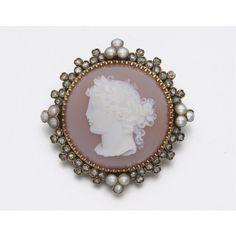 GOLD, DIAMOND, PEARL AND CARNELIAN CAMEO BROOCH, CIRCA 1880 | lot | Sotheby's