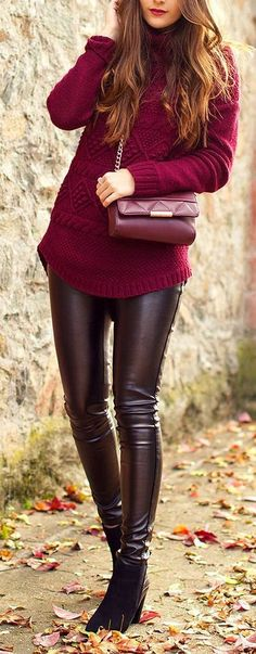 Street fashion | Black leather pants burgundy sweater