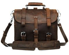 Distressed leather messenger bag to be used as a backpack and briefcase