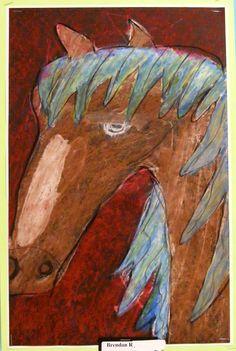Field Elementary Art Blog!: Oil Pastel Horses