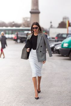 Check-print blazer and white pencil skirt for 9 to 5 chic -  Paris street style and outfit ideas for work - #office #style