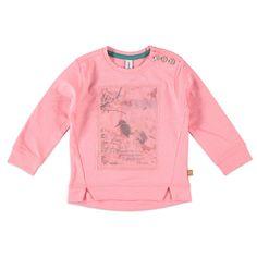 Babyface T-shirt met ronde hals en lange mouw voor meisjes in de kleur roze. Dit T-shirt van Babyface, uit de winter collectie, is gemaakt van 100% katoen. Verkrijgbaar in de maten 68 t/m 104 en heeft bij de linker een knoopsluiting. Op de voorkant een grote print versierd met een laag netstof.  Artikelnummer: 6208676 Seizoen: winter Leverancierskleur: 62 candy  Materiaal: 100% katoen