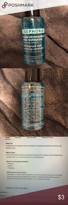 Clearance ❗️Sephora Waterproof Eye Makeup Remover Great eye makeup remover from Sephora! Is 3/4 full ! Takes the makeup off right away after applying! Great if you have sensitive eyes! 💜💜💜 If you buy three or more clearance items get each for $3 💙🖤💙🖤when you do a bundle! Say what?!?! Must be bought as bundle of 3 for killer discount! Sephora Other