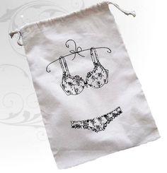 Muslin Drawstring Lingerie Pouch by badbatdesigns on Etsy, $10.00