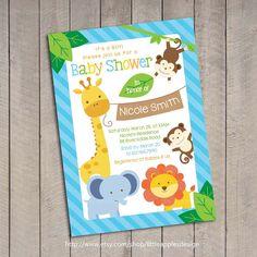 Blue Safari Baby Shower Invitation / Blue by LittleApplesDesign