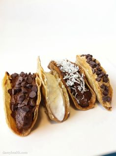 Can this be our dessert after taco salad?   Healthy Chocolate Dessert Tacos - Including guides to making the following...  •Whipped Coconut Cream  •Mint Whipped Coconut Cream  •Chocolate Filling (w/Pumpkin vs Avocado)  •Peanut Butter Filling  •Chocolate Almond Fudge Filling  •Coconut Cream Pie Filling  •Banana Cream Pie Filling  •Cookie Dough Filling  •Cookie Dough Hummus