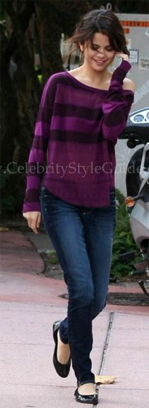 Selena Gomez and Free People We the Free Long Sleeve Lacey Stripes Top, Vera Wang Lavender Lillian Ballet Flat. See the latest Selena Gomez style, fashion, beauty, trends, wardrobe and accessories. View ratings and vote on Selena Gomez style and fashion.