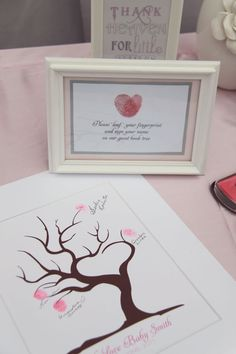 "Guests are asked to please ""leaf"" their fingerprint and sign their name on a guest book tree that will be framed for the mom-to-be later. Very creative!"