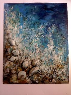 Sea Performance Art...Abstract Modern Contemporary Painting, signed, acrylics, varnish,sand and stones, size 40 x 50 cm