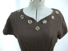 Vintage 1950s Dress Belt Brown Floral by TimelessTreasuresVCB, $24.00