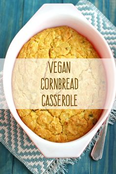 This vegan cornbread casserole recipe is easy to make and great side dish for Thanksgiving!