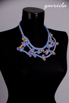 One OnlyKnit necklaceBlue necklaceCrochet by Gavriila on Etsy
