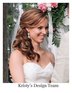Romantic Bridal Hair Half Up Down Curls With Veil Hairstyle By Kristys Design