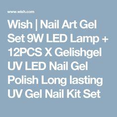 Wish | Nail Art Gel Set 9W LED Lamp + 12PCS X Gelishgel UV LED Nail Gel Polish Long lasting UV Gel Nail Kit Set