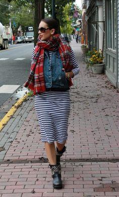 Stripes, Plaid and Moto Boots! « Thirty Something Fashion – Carly Walko