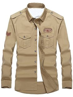 Helicopter Embroidered Logo Design Military Shirt In Khaki,3xl | Twinkledeals.com