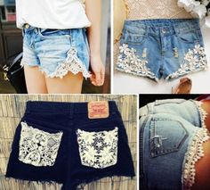 How to take an old pair of shorts or jeans and make them new again!  watch this tutorial for additional help.  super easy! http://youtu.be/l32K3yfBFH8