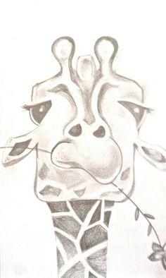 Up close giraffe eating