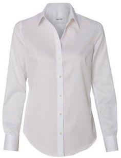 Calvin Klein 13CK034 Women's Non-Iron Micro Pincord Long Sleeve Shirt White Large