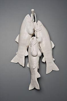 The bizarre porcelain sculptures of Kate MacDowell Modern Sculpture, Sculpture Clay, Kate Macdowell, Clay Fish, Fish Quilt, Clark Art, Ap Studio Art, Ap Art, Clay Animals