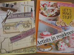 Crafty Cards for hand crafters. Set of 4 decoupage cards, featuring creativity, making stuff, sewing, painting, cooking, ribbons and bows @PumpjackPiddlewick on Etsy