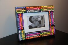 Requiring just a glue gun, a small saw, and some sandpaper, this colorful picture frame is the perfect way to show off your class picture!  Source: Felt So Cute