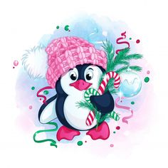 Find Cute Penguin Knitted Pink Hat Pompom stock images in HD and millions of other royalty-free stock photos, illustrations and vectors in the Shutterstock collection. Childrens Christmas Gifts, Perfect Christmas Gifts, Christmas Colors, Kids Christmas, Christmas Crafts, Christmas Trees, Merry Christmas, Illustration Noel, Christmas Drawing