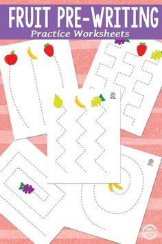 Free Fruit Pre-Writing Practice Worksheets - My Store Preschool Writing, Preschool Curriculum, Preschool Learning, Preschool Activities, Free Preschool, Homeschool, Teaching, Preschool Food, Dementia Activities