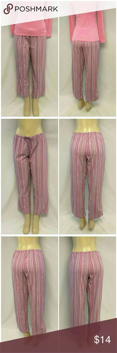 """Soft Flannel Pinkish Stripes Lounge Pants size Med Soft Flannel, Pinkish Stripes, Lounge Pants, size Medium See Measurements, self-tie on elastic waistband, machine washable, 100% polyester, approximate measurements: 15 1/2"""" waist laying flat, 28"""" inseam, 11"""" rise. All Pants and Jeans are $14 Each everyday! ADD TO A BUNDLE! 20% BUNDLE DISCOUNT! Intimates & Sleepwear Pajamas"""