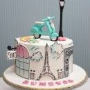 Bolo tema Paris que vi no Birthday Cakes For Men, 18th Birthday Cake, Paris Birthday, Pretty Cakes, Cute Cakes, Vespa Cake, Fondant Cakes, Cupcake Cakes, Bolo Paris
