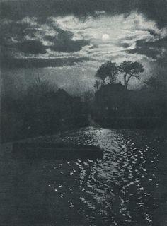 Otto Scharf (1858-1947), Mondschein, Krefeld - vers 1900