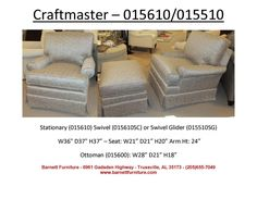 Craftmaster 015610 Chair.  Available Swivel or Stationary.  You Choose the Fabric