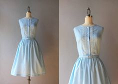 Vintage 60s Dress / 1960s Pale Blue Sundress / 1950s Scalloped