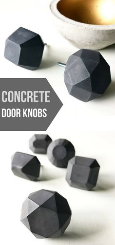I love these black geometric concrete door knobs. #concrete #cement #geometric #black #doorknobs #homedecor #commissionlink