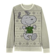 Peanuts Snoopy Snowflake Pattern Adult Cream Ugly Christmas Sweater ($40) ❤ liked on Polyvore featuring tops, sweaters, snowflake sweater, cream sweater, cream top, christmas tops and christmas sweater