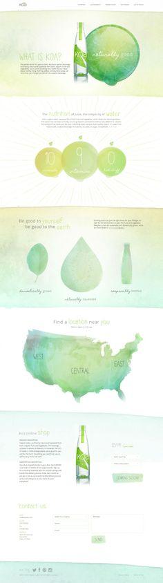 Beautiful, beautiful, beautiful watercolor illustrations! We love authentic illustrations in web design!  KOA Water Website