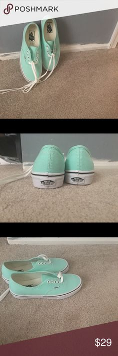 Teal vans. Greenish blue vans. Never worn.  Clean house. 100% authentic. Retail price: $49.99. I got them about a year ago but I accidentally ordered a bigger size. Size W 8.5 Vans Shoes Sneakers