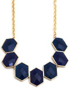 navy statement necklace