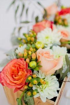 Peach and Green Wedding Flowers
