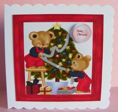 Christmas teddys  on Craftsuprint designed by Cynthia Berridge - made by Diana Holmes - Printed onto glossy photo paper and cut out, I attached to a scalloped edge card using DST and added the sentiment tag with 2mm foam pads.This is a lovely Christmas design. - Now available for download!