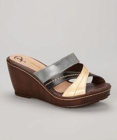 Passarela Brazil Nude Crisscross Stitch Leather Wedge Sandal by Passarela Brazil #zulily #zulilyfinds
