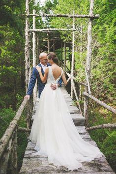 A first look on our cedar tree house walkway - a picture perfect moment #cedarwoodweddings Lush and Romantic Destination Wedding :: Megan+Greg | Cedarwood Weddings