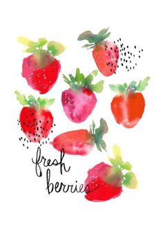 Fresh Berries Watercolor Art Print by kellyventura on Etsy Fruit Illustration, Watercolor Illustration, Painting & Drawing, Watercolor Paintings, Watercolors, Watercolor Fruit, Art Graphique, Art Plastique, Food Art