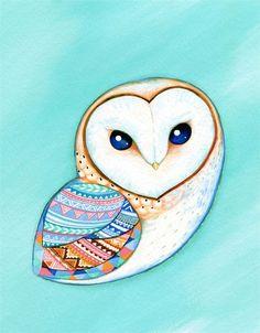 Tribal Pattern Barn Owl Art Print is sooooooooooooooooooooooooooooo cute. my teacher likes them so much.