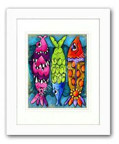 Fish+Art+Print+...+One+Two+Three+Fish++8+x+10+by+KarenEmbry,+$18.00