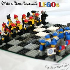 Boredom Buster - Your Kids can make their own chess set with LEGOS and then have fun playing chess with the game they just created - hours of fun! (think pink with the LEGO friends sets too?)