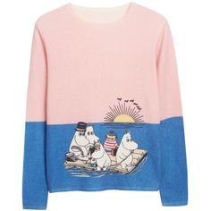 Blue & Pink Moomin Sunset Cashmere Sweater (€320) ❤ liked on Polyvore featuring tops, sweaters, pink top, blue top, fine gauge sweater, cashmere sweater and pink cashmere sweater